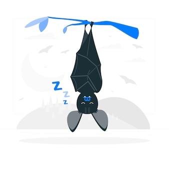 Ilustración del concepto de murciélago dormido