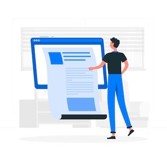 Ilustración de concepto muro de publicación