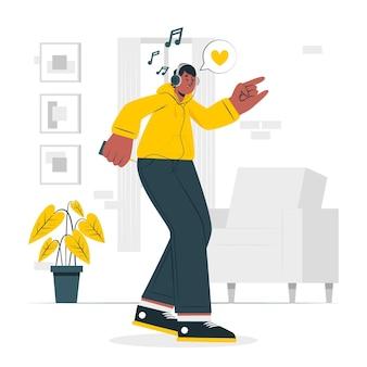 Ilustración de concepto de música feliz escuchando
