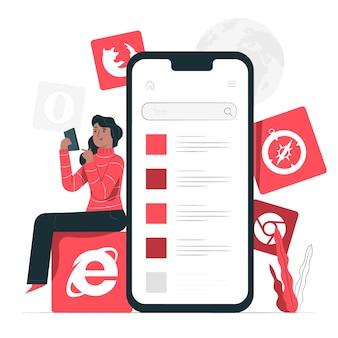 Ilustración del concepto de navegadores móviles