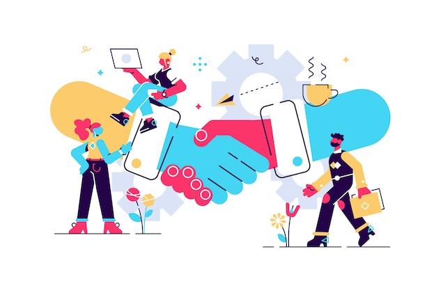 Ilustración del concepto de negocio, concepto de asociación, acuerdo de las partes