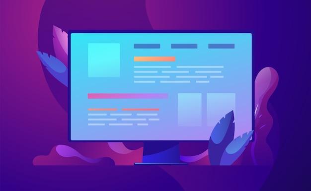 Ilustración del concepto de negocio desarrollo web y codificación.