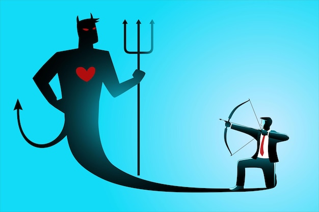 Ilustración del concepto de negocio, empresario apuntando su propia sombra malvada con arco y flecha