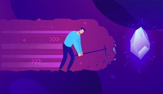 Ilustración del concepto de negocio empresario cavando y encontrando tesoros - colores modernos.