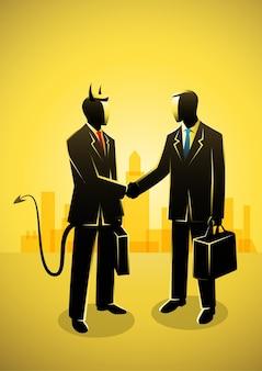 Ilustración del concepto de negocio de un empresario haciendo un trato con el diablo