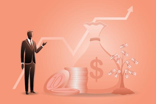 Ilustración del concepto de negocio, empresario con su riqueza