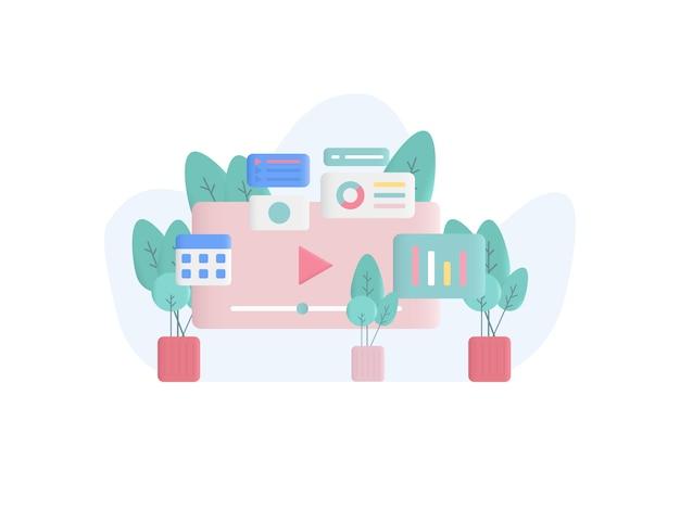 Ilustración del concepto de negocio en línea en estilo plano