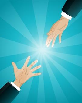 Ilustración del concepto de negocio, mano amiga de empresarios