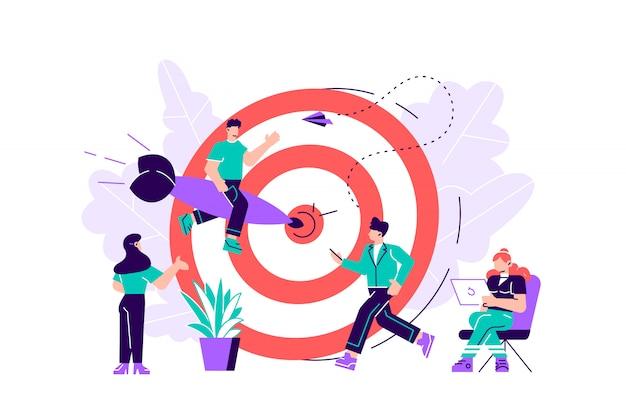 Ilustración del concepto de negocio, objetivo con una flecha, golpear el objetivo, logro del objetivo. ilustración de diseño moderno de estilo de color plano para página web, tarjetas, póster, redes sociales.