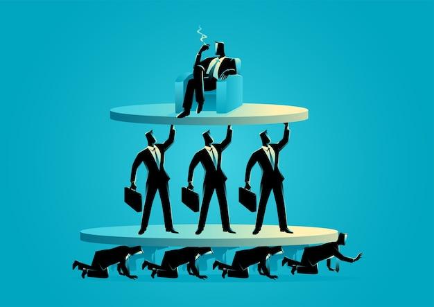 Ilustración del concepto de negocio de la pirámide de la clase de trabajo