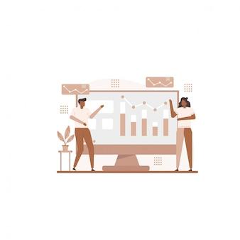 Ilustración del concepto de negocio para la plantilla de página de destino
