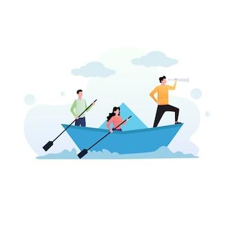 Ilustración de concepto de negocio y trabajo en equipo
