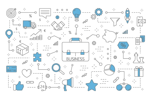 Ilustración del concepto de negocio. yendo hacia el éxito. idea de trabajo en equipo y liderazgo. conjunto de iconos financieros. línea aislada