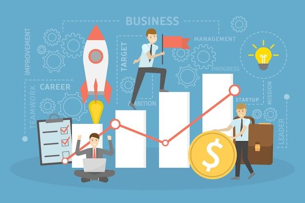 Ilustración del concepto de negocio. yendo hacia el éxito. idea de trabajo en equipo y liderazgo. personas pequeñas que trabajan juntas, realizan operaciones financieras y promueven su negocio.