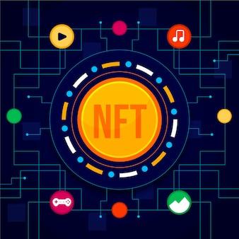 Ilustración de concepto de nft de diseño plano