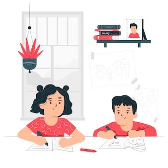 Ilustración del concepto de niños estudiando desde casa
