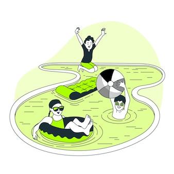 Ilustración del concepto de niños jugando en la piscina