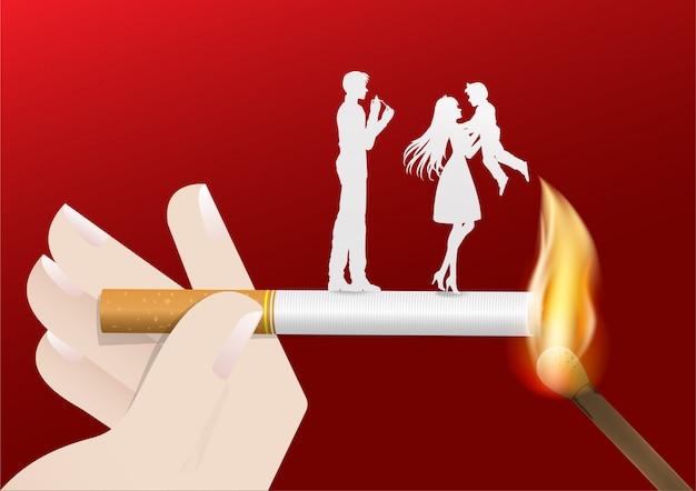 Ilustración del concepto de no fumar día mundo.