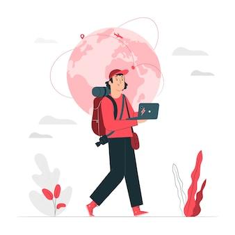 Ilustración del concepto de nómada digital
