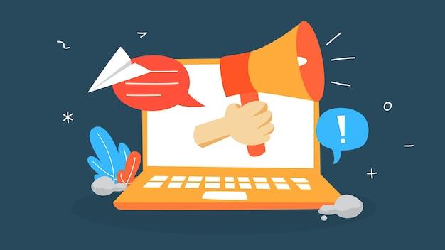 Ilustración del concepto de notificación. mensaje de sonido en la computadora portátil. sms o correo electrónico no leído. ilustración