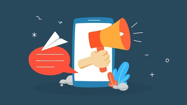 Ilustración del concepto de notificación. mensaje de sonido en el teléfono móvil. sms o correo electrónico no leído. ilustración