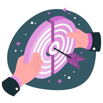 Ilustración del concepto de objetivos compartidos