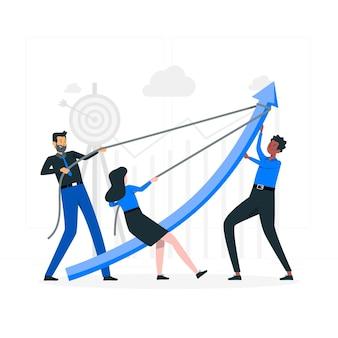 Ilustración de concepto de objetivos de equipo