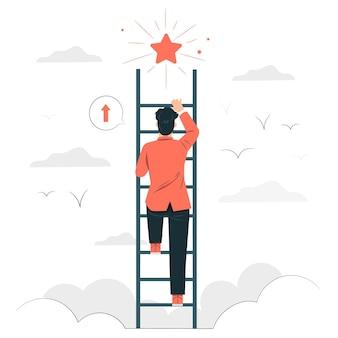 Ilustración del concepto de objetivos personales