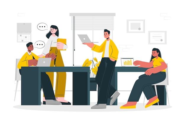 En la ilustración del concepto de oficina