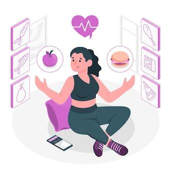 Ilustración del concepto de opciones saludables