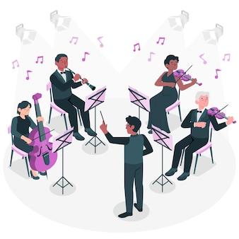 Ilustración del concepto de orquesta