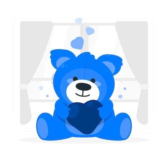 Ilustración de concepto de oso de peluche de día de san valentín