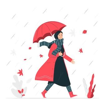 Ilustración del concepto del otoño se acerca