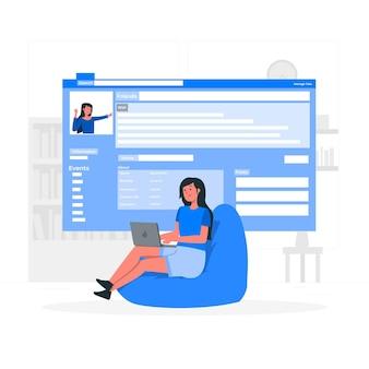Ilustración del concepto de página en línea