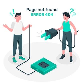 Ilustración del concepto de página no encontrada con gente conectando un enchufe