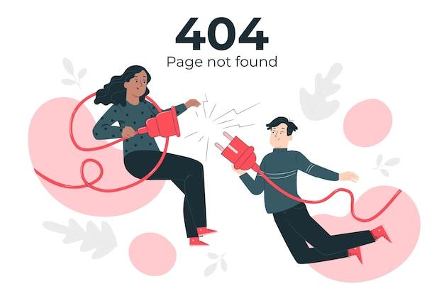 Ilustración del concepto de página no encontrada con personas conectando un enchufe