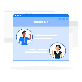 Ilustración del concepto de página sobre quiénes somos