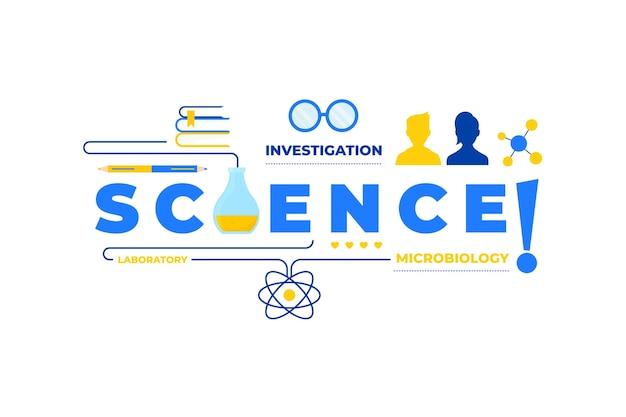 Ilustración de concepto de palabra de ciencia con colección de elementos