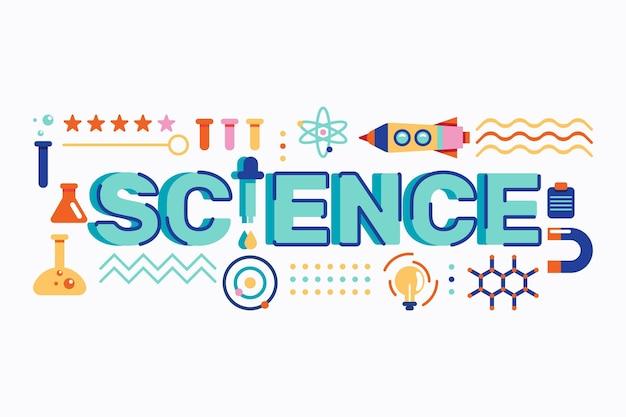 Ilustración de concepto de palabra de ciencia