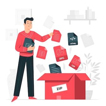 Ilustración del concepto de paquete de archivos