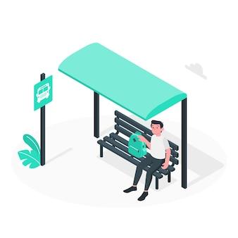 Ilustración del concepto de parada de autobús