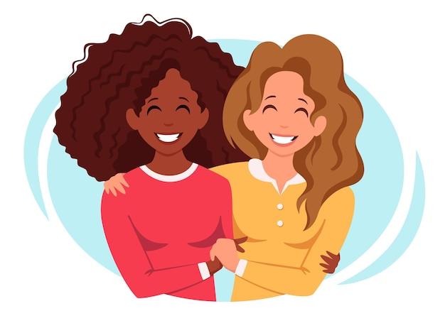 Ilustración de concepto de pareja de lesbianas lgbt