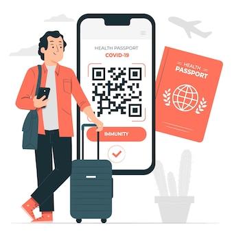 Ilustración de concepto de pasaporte de salud