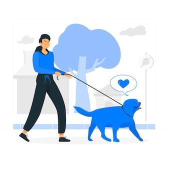 Ilustración de concepto de pasear al perro