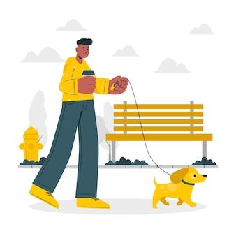 Ilustración de concepto de pasear perros