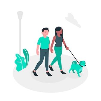 Ilustración de concepto de paseo de perro