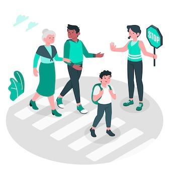 Ilustración del concepto de paso de peatones