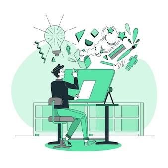 Ilustración de concepto de pensamiento de diseño