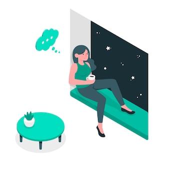 Ilustración del concepto de pensamientos