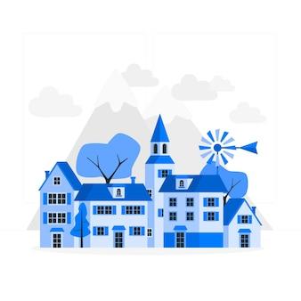 Ilustración del concepto de pequeña ciudad